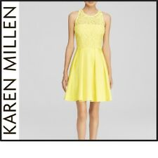 Karen MILLEN Lace Skater Dress Yellow NWT $340 Sz 6 Must have YELLOW
