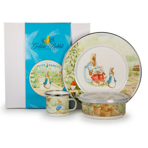 Golden Rabbit Enamelware Beatrix Potter 3 Piece Child Babyware Dinner Set