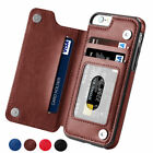 Leather Flip Wallet Card Holder Case Cover For iPhone 6 7 8 X Samsung S7 S8+ S9+