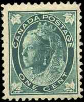 Canada #67 mint F-VF OG HR DG 1897 Queen Victoria 1c blue green Maple Leaf