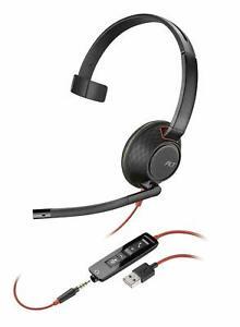 New Plantronics Blackwire C5210 USB-A PC 3.5mm Monaural Headset - P/N 207577-01