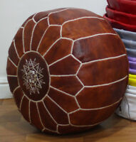 Free Express Shipp MOROCCAN POUF GENUINE LEATHER HIGH QUALITY OTTOMAN FOOTSTOOL