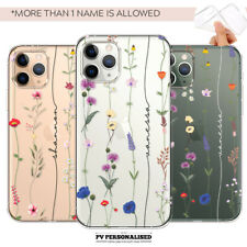 PERSONALISED PHONE CASE COVER FLORAL INITIALS NAME SILICONE IPHONE 7 8 XR 11