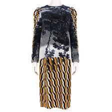 Dries Van Noten Velvet Geometric Landscape Dress FR38 UK10
