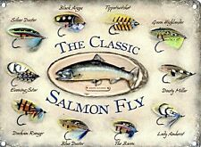 Classic Salmon Fly large steel sign 400mm x 300mm (og)
