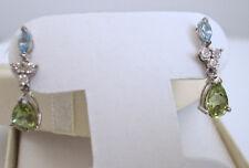 10K WG Blue Topaz, Diamond, PERIDOT Drop Dangle Post Pierced Earrings
