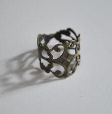 10PC Antiqued Bronze Tone Brass Adjustable Filigree Ring Blanks