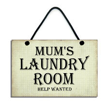 Handmade Wooden Mums Laundry Room Help Wanted Hanging Sign/Plaque 202