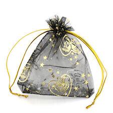 50PCs 9.5x11.5cm Premium Organza Wedding Gift Bags Jewelry Pouches Black Candy