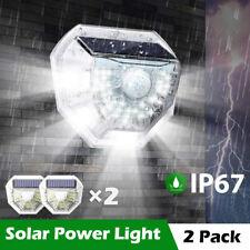 2 PC Outdoor LED Solar Power Lights PIR Motion Sensor Wall Lamp Garden Landscape