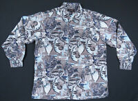 NWOT Vintage 80s 90s Silk Abstract Geometric Print Long Sleeve Button Up Shirt M
