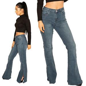Long Leg Bootcut Jeans Blue Flared Stretch Denim Pants Split Hem y2k 90s style