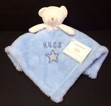 Baby Gear Blue White Teddy bear Hugs gingham star fleece Baby security blanket