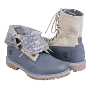 Timberland Earthkeepers Floral Canvas Leather Fold Down Combat Boots 6.5