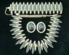 Vintage Goldtone and Black Parure ~ Necklace, Bracelet and Clip-on Earrings