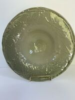 "Rowe Pottery Works Green Bird Bath Bowl 11"" Embossed Leaf"