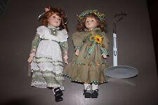 "Lot 2 Porcelain China Dolls 15/16"" Tall Brunettes Green Dresses Wimbledon Doll"
