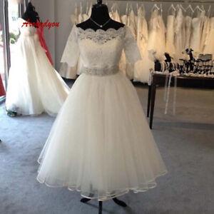 1950s Vintage Wedding Dresses Tea Length Half Sleeve Short Bridal Gown Plus Size