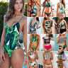 Womens BOHO Tropical Swimwear Bikini Set Bandage Push-Up Swimsuit Beach Monokini