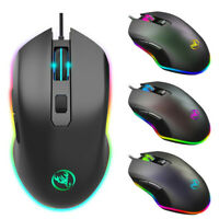 7-Color LED Fiber USB Maus Wired Mouse 6400DPI Computer Game Professional Gamer