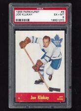 1955 Parkhurst #6 Joe Klukay, PSA 6 EX-MT, Vintage Toronto Maple Leafs 1955-56