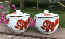 Chinese Pottery Porcelain Orange Fu Foo Dog Pot Jar Tea Caddy Vase signed Pair