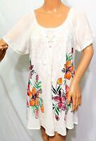 Ana & Kate Women Plus Size 1x 2x 3x Tie Dye White Floral Boho Tunic Top Blouse