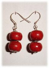 Boucles Oreilles Corail rouge Argent by Gaia-Créations
