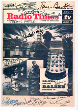 """DR WHO LAMINATED RADIO TIMES COVER POSTER 8 X 11 """" AUTOGRAPH SIGNED X 13 DOCTORS"""