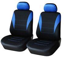 2er vordere Sitzbezüge Schonbezüge Blau-Schwarz Hochwertig für VW Dacia Opel