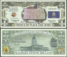 Lot of 100 Bills- Kansas State Million Dollar Bill w Map, Seal, Flag, Capitol