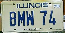 BMW 74 Illinois 1979 Vanity License Plate Specialized Vintage Expired Used Clean