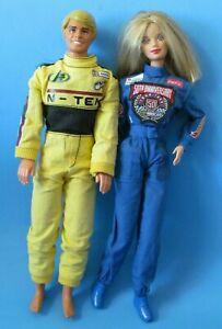 BARBIE Lot of 2 Race Suit Dolls 50th Anniversary Hot Wheels and 1968 Ken Bundle