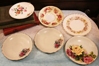 Vintage Lot of 6 Bone China Saucers Royal Doulton Queen Anne England Perfect!