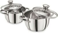 Pristine Stainless Steel Casserole Set With Glass Lid 1.9 Qt and 2.32 Qt
