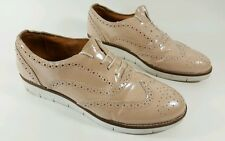 Tan womens patent leather flat shoes with brogue detail uk 7
