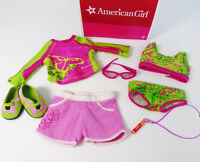 American Girl Doll 2 In 1 JESS KAYAKING OUTFIT Swim Suit Shorts Shoes Sunglasses