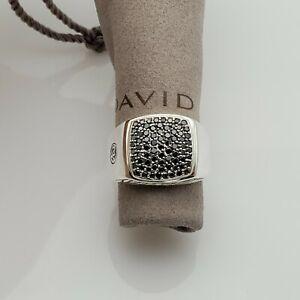 David Yurman Sterling Silver Pave Black Diamond Signet Ring size 11