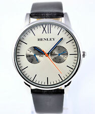 Henley Gents Real Leather Black Strap Watch, Slim Curved Lens Sil / White Dial