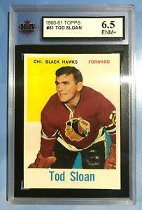 1960-61 TOPPS NHL HOCKEY CARD #51 TOD SLOAN BLACKHAWKS KSA 6.5 ENM+ 60/61 TOPPS
