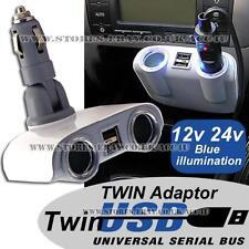 12v 24v 2 vías coche cigarrillo encendedor Multi Socket Dos Puertos Usb Cargador Adaptador