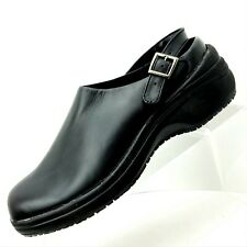TredSafe  Size 8 M Black Back Strap Leather Wedge Mules Womens  Shoes