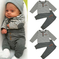 Winter Autumn Newborn Baby Boys Long Sleeves Stripe Tops+Pant Infant Outfit Set