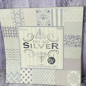 """The Paper Studio Scrapbook Paper Pad """"Oh So Silver"""" 60 sheets 12""""X12"""" Foiled"""