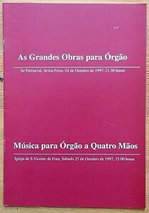 As Grandes Obras para Orgao concert programme 24.10.1997 Lisbon, Portuguese text