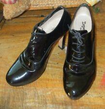 """Repetto Paris US 10 Oxford Black Patten Leather 4"""" Heel Lace Up Women's Shoes"""