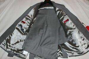 Hugo Boss Men's Marzotto Grey Plaid Virgin Wool 2 Button Suit $995 Size 40R