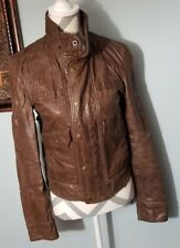 Women's True Religion Brown Leather Rocker Jacket Sz Small (Inventory a1)