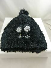 Black soft cat face beanie cap hat winter garb very cute kitty