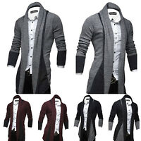 Herren Cardigan Strickjacke Wasserfall Sweater Mantel Jacke Gestrickt Long Tops